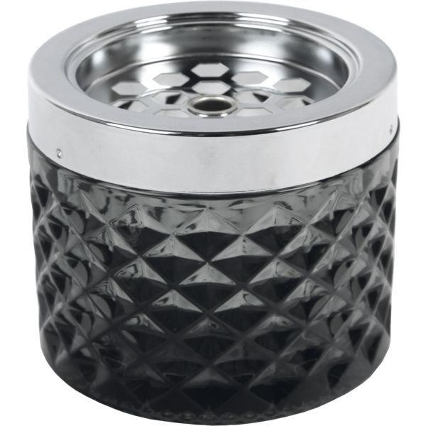 Windascher Glas, mit Edelstahldeckel, matt, schwarz, Höhe: 67 mm, ø: 96 mm