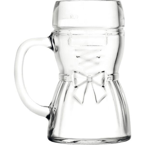 »Dirndl & Lederhosen« Bierkrug 2-tlg., Inhalt: 0,50 Liter, Höhe: 165 mm